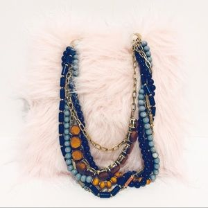 MODCLOTH Blue, Brown & Gold Statement Necklace